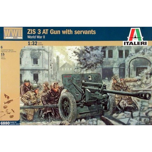1/32 Italeri ZIS 3 AT Gun with servants  6880