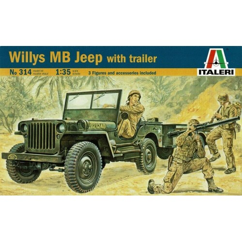 1/35 ITALERI Willys Jeep with trailer 314