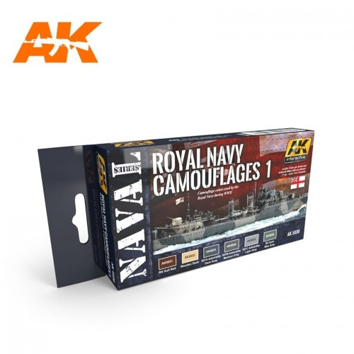 AK Interactive Colors ROYAL NAVY CAMOUFLAGES 1 SET - Naval Series Acrylic Paints (6 x 17 ml) AK5030