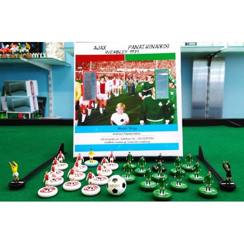 Subbuteo Andrew Table Soccer Set Ajax Panathinaikos  Champions Cup Final 1971 on WSB Professional bases