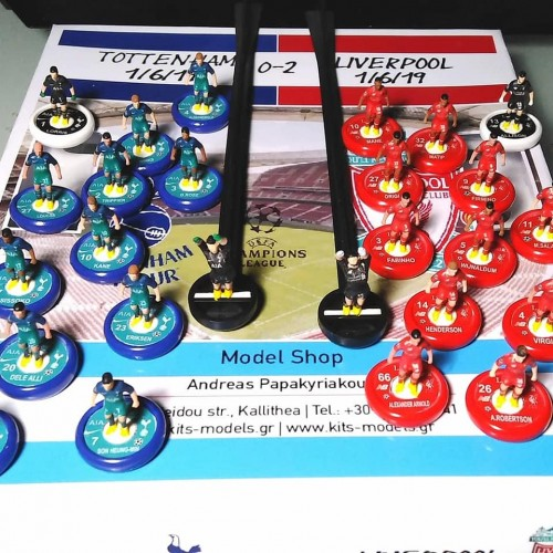 Subbuteo Andrew Table Soccer Tottenham Hotspurs - Liverpool FC 0-2 Champions League Final 2018-19 set on new Aeolus II PROFESSIONAL BASES