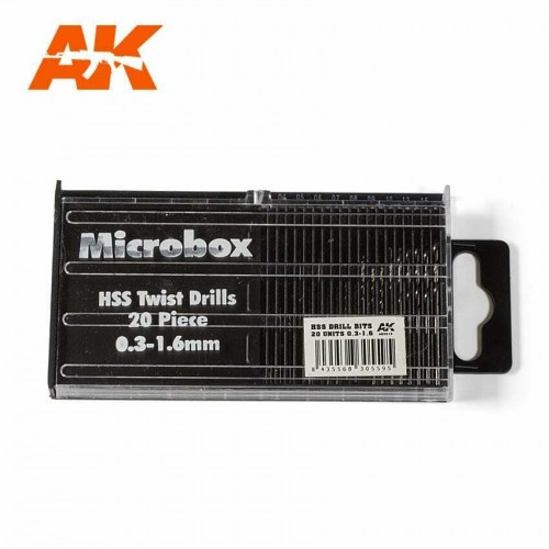 AK INTERACTIVE MICROBOX 20pc HSS DRILLS (0.3-1.6mm) #AK9015